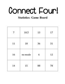 7th Grade Math Statistics Connect Four Game