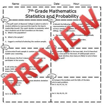 7th Grade Math Statistics & Probability Assessment/Exam/Test/Review {EDITABLE}