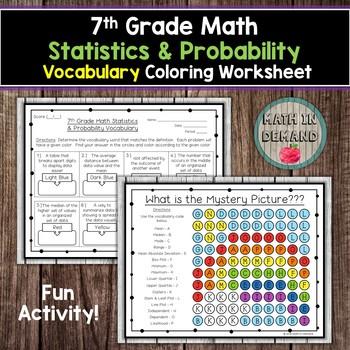 7th Grade Math Statistics Probability Vocabulary Coloring Worksheet