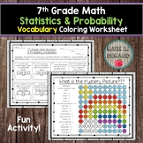 7th Grade Math Statistics & Probability Vocabulary Coloring Worksheet