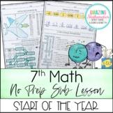 7th Grade Math Sub Lesson / Substitute Teacher Activity - Start of Year