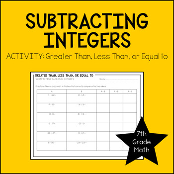 7th Grade Math Subtracting Integers Activity