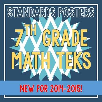 Standards Posters - NEW 7th Grade Math TEKS (Aqua Diamonds)