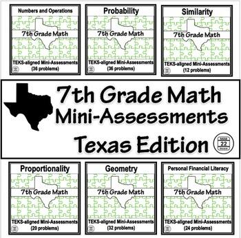 7th Grade Math TEKS Assessments BUNDLE