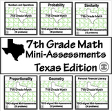 7th Grade Math TEKS Assessments BUNDLE