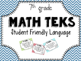 7th Grade Math TEKS posters in Student Friendly Language!
