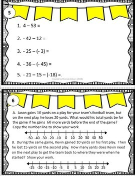 7th Grade Math Task Cards - The Number System