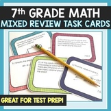 7th Grade Math Mixed Review Test Prep Task Cards