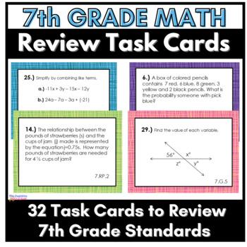 7th Grade Math Test Prep Task Cards (Common Core Aligned)