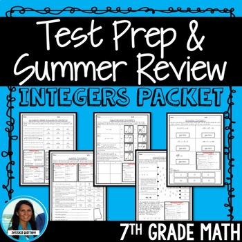 7th Grade Math Integers Test Prep or Summer Review Packet