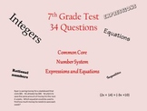 7th Grade Math Test Rational Numbers Equations Expressions