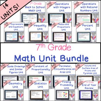 7th Grade Math Units Bundle Common Core Math