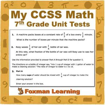 7th Grade Math Unit Tests--Problem Solving--CCSS Common Core Middle School