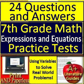 7th Grade Math Using Variables to Solve Real World Problems:  Test Prep Practice