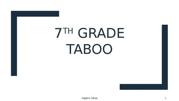 7th Grade Math Vocab Taboo Preview