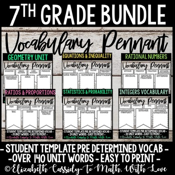 7th Grade Math Vocabulary Bundle Diy Pennant Banner By To Math