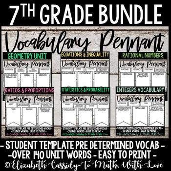 7th Grade Math Vocabulary Bundle - DIY Pennant Banner