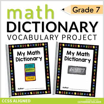 7th GRADE MATH VOCABULARY COMMON CORE - MY MATH DICTIONARY & TEACHER TOOLS