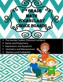 7th Grade Math Vocabulary Choice Boards