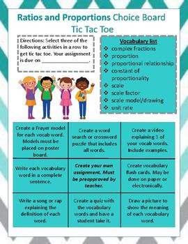 7th Grade Math Vocabulary Choice Boards