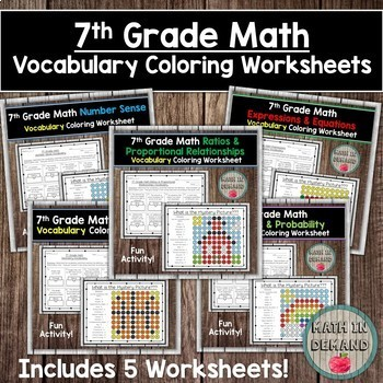 7th Grade Math Vocabulary Coloring Worksheets Bundle By Math In Demand