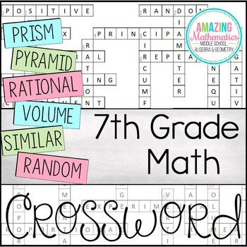 7th Grade Math Vocabulary Crossword