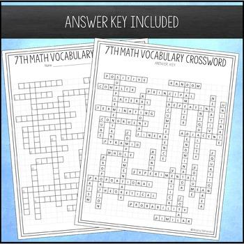 7th Grade Math Vocabulary Crossword
