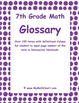 7th Grade Math Vocabulary & Glossary for Interactive Notebook