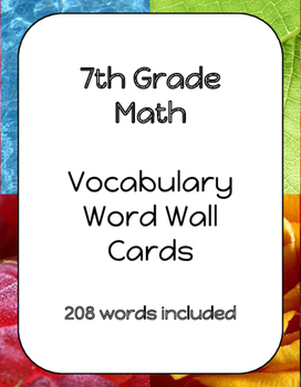 7th Grade Math Vocabulary Word Wall Cards