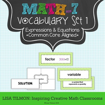 7th Grade Math Vocabulary Word Wall (SET 1: Expressions and Equations)