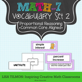 7th Grade Math Vocabulary Word Wall (SET 2: Ratios & Propo