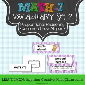 7th Grade Math Vocabulary Word Wall (SET 2: Ratios & Propo