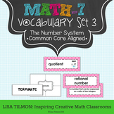 7th Grade Math Vocabulary Word Wall (SET 3: The Number System)