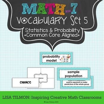 7th Grade Math Vocabulary Word Wall (SET 5: Statistics and