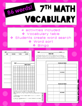 7th Grade Math Vocabulary Worksheets and Activities