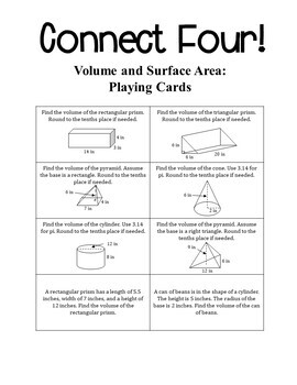 7th Grade Math Volume and Surface Area Connect Four Game