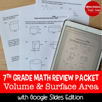 7th Grade Math Volume and Surface Area Review Packet
