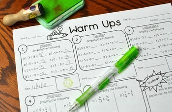 7th Grade Math Warm-Ups (Entire Year of Warmups) DISTANCE LEARNING