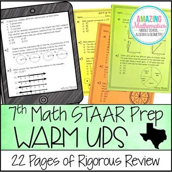 7th Grade Math Warm Ups - STAAR Review & Prep