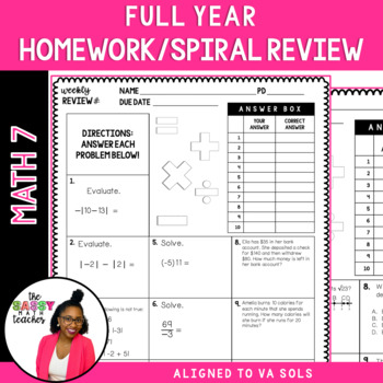 7th Grade Math Weekly Homework Spiral Review