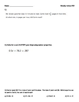 7th Grade Math Weekly Review #19