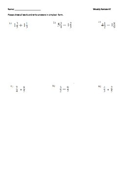 7th Grade Math Weekly Review #7