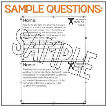 7th Grade Math Word Problems Expressions and Equations Math Review Test Prep