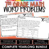 7th Grade Math Word Problems   Test Prep YEARLONG BUNDLE  