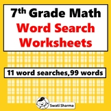 7th Grade Math, Word Search Worksheets