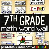 7th Grade Math Word Wall - print and digital