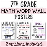 7th Grade Math Word Wall & Classroom Decor