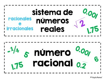 7th Grade Math Word Wall Cards - ENGLISH AND SPANISH - 154 Words Each!