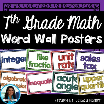 7th Grade Math Full Year Word Wall Posters