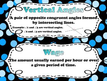 7th Grade Math Word Wall Vocabulary Cards